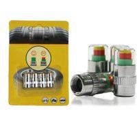 sensor de presión de neumáticos de coche al por mayor-4 UNIDS Coche Auto Monitor de Presión de Neumáticos Tire Gage Alerta Sensor Sensor Válvula Tapas Válvulas Monitor de Presión Válvula Vástago Car Styling