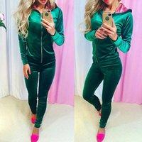 rosa lila trainingsanzug großhandel-2 stücke set neon lila rosa Winter Samt Reißverschluss Outdoor Gym Sport Anzug Outfits frauen Trainingsanzüge