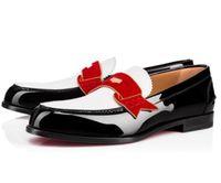красная удобная обувь оптовых-Monono Плоские слипоны из кожи Городские туфли с красной подошвой Мокасины Деловая вечеринка Свадебное платье Дизайнер Оксфорд Прогулки Досуг Удобно
