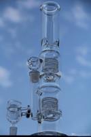 grand tuyau de vapeur achat en gros de-Big bongs 17 pouces Deux fonctions bang en verre pipe à eau en verre plate-forme de vapeur avec dôme bol