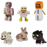 Wholesale Minecraft Plush Stuffed Toys cm Minecraft Snow Golem Steve Zombie Wolf Ocelot Rabbit Chicken Plush Toy for Children Kids