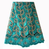 ingrosso matrimonio di qualità del merletto-Tessuto di pizzo francese Teal tessuto di perline tessuto in rilievo africano 2019 Tessuto di pizzo ricamato di alta qualità per abiti da sposa nigeriani