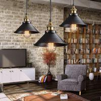 endüstriyel metalik süsleme ışıkları toptan satış-Loft Vintage Endüstriyel kolye Işık Nordic Retro Stil Demir kolye Lambalar E27 Edison Lambası Metal Çağ Kafes Yemek Odası çubuğu için lambalar