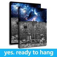 Wholesale hanging plate painting resale online - Frame Starry Night Breaking The Wall Pink Floyd Pictures Wall Paintings Home Decoration Painting on Canvas Hanging Artwork For Wall Bedroom