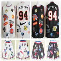 черный белый баскетбольный трикотаж оптовых-Высочайшее качество Sup Nie 18ss Teams Футболка сшитая спортивная одежда Sup 94 Черно-белые хип-хоп короткие футболки Cheap Mens Basketball Jersey