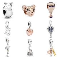 gümüş fil takılar toptan satış-FAHMI 925 Ayar Gümüş 2019 Yaz Gül Hava Balonu Lioness Gergedan Boncuk Fil Dangle Charm Açılabilir Kalp Kolye