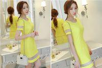 mini vestido coreano de una pieza al por mayor-Primavera y verano 2019 nuevo vestido de una sola pieza de manga corta de Corea del Sur moda de las mujeres falda de remiendo dulce inferior