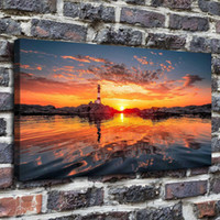 Wholesale beautiful hd oil paintings resale online - Beautiful Sunrise Home Decor HD Printed Modern Art Painting on Canvas Unframed Framed