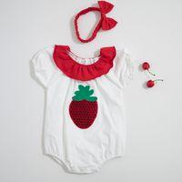 roupas de bebê de morango venda por atacado-Baby girl Designer Roupas Romper Infantil Projeto Morango Manga Curta Ruffles Colar Romper + headband 100% roupas de Verão de algodão