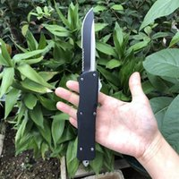 Wholesale serrated' knife for sale - Group buy Hot A16 Auto Tactical Knife C Drop Point Serrated Blade Znic Aluminum Alloy Handle Survival Rescue Knives With Nylon Bag