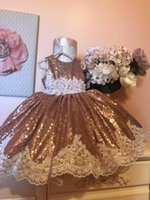 Wholesale rhinestone baby girl clothes resale online - 2019 Vintage Sequins Lace Flower Girls Dresses Baby Infant Toddler Baptism Clothes With Big Bow Tutu Ball Gowns Birthday Party Dress