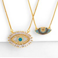 Wholesale blue evil eye pendant resale online - Paved Cubic Zirconia Evil Eye Pendant Necklace Gold Copper Blue Horus Eyes Box Chain Necklace Women Fashion Jewelry