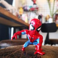 ingrosso carta vendicatori-9cm Muscle Spiderman Shaking Doll Pvc Marvel Modello di ruolo Misura Home Collection Figure giocattolo con scatola di carta di immagazzinaggio di colore 20zfe1