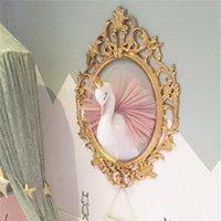 tiere gehangene wand großhandel-Nette 3D Golden Crown Swan Wandkunst Hängen Mädchen Schwan Puppe Stofftier Tierkopf Wanddekor für Kinderzimmer Geburtstag Hochzeitsgeschenk