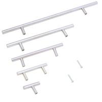 ingrosso maniglie della barra degli armadi-Vendita calda 50mm-500mm acciaio inossidabile T bar maniglia della porta manopole mobili maniglie tirare per mobili da cucina cassetto armadio
