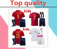 Wholesale spain soccer jersey kids for sale - Group buy 2020 Eruo cup spain kids soccer jersey full kits PACO ALCACER ASENSIO MORATA ISCO INIESTA THIAGO kids Football shirt kits socks