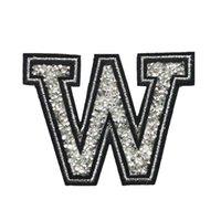 camisas de vestir rhinestone al por mayor-W Letra Hot Fix Rhinestone Parche Coser Hierro En Alfabeto Insignias Bordado Apliques Medio Hecho A Mano Para Bolsa Jeans Vestido de la Camiseta DIY