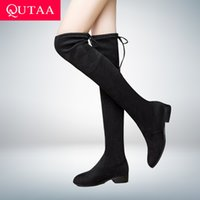 Wholesale low boots black ladies for sale - Group buy QUTAA Ladies Shoes Square Low Heel Women Over The Knee Boots Scrub Black Pointed Toe Woman Motorcycle Boots Size T200106