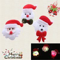 Wholesale christmas light up badges resale online - 10pcs Led Glowing Santa snowman Brooch Kids Gift Christmas Party Decoration Plush Led Flashing Cartoon Badge Light Up Toy