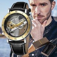 relógio de estilo único venda por atacado-Estilo de negócios Homens Relógio Único Oco de discagem Moda Esporte Relógio de Quartzo Masculino Relógios de Pulso Pulseira de Couro Relogio masculino