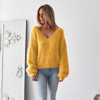 offene pullover großhandel-Womens Designer Sweater Damenmode Sexy Open Back Sweater Marke Solid Color Top Frauen Luxus Langarm Bekleidung