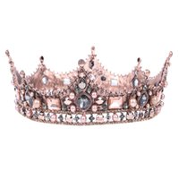 ingrosso tiaras della corona di perle faux-Donne all'ingrosso Strass Faux Pearl Crown Tiara Princess Sposa Headband Wedding Headwear
