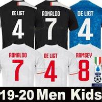 kits de ventilador venda por atacado-Tailand Sports RONALDO juventus 2019 2020 camisa de futebol DYBALA KEAN RAMSEY MATUIDI 19 20 kit fãs versão do jogador homens mulheres crianças campeão liga Serie A