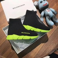zapato de vestir para niños pequeños al por mayor-Zapato barato de marca niño niño vestido baloncesto zapatillas Neo verde suela + tela negra resbalón en zapatos niña vestido diseñador bebé niño niña niños pequeños