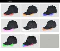 tapas de bolas de color marrón al por mayor-Béisbol LED Caps diseñador de algodón Negro Blanco Marrón brillante LED bola ligeras de los casquillos del Snapback ajustable Resplandor en sombreros negros luminoso sombreros del partido