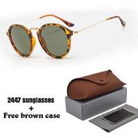 runde schattierungen für männer großhandel-Markendesigner Sonnenbrille Herren Damen gatsby Retro Vintage Eyewear Sonnenbrille mit rundem Gestell und braunen Einzelhandelsetuis und Schachtel