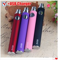 Wholesale cigarette clone for sale - Group buy EVOD Vaporizer Battery mAh Electronic Cigarette eGo Thread Vape Pen USB Charger fit E Cig eGo T MT3 CE4 Clone Kanger
