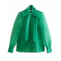 camisas verdes venda por atacado-Mulheres High Street Bow Collar Organza Transparente Camisa Verde Blusa Blusas Mulheres Botões de Manga Longa Blusas Chemise Tops Ls3233 Y190427