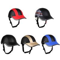 Wholesale motorcycle half helmets visor resale online - Motorcycle Helmet Half Face Helmet Half Open Face Bike Cycling Protective ABS Baseball Cap With PU Hat Visor
