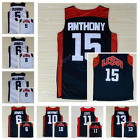 c3a95a490e7e 2012 Dream Team Ten Usa Basketball Jerseys 11 Kevin Love 5 Kevin Durant 13  Chris Paul 6 Lebron James 8 Deron Williams 15 Carmelo Anthony