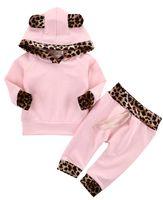 niedliche trainingsanzüge großhandel-baby kleinkind rosa leopard hoodie trainingsanzug 2 stücke niedlich top hoody shirt + lange hose weicher baumwolle neugeborenes outfit