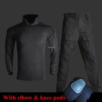taktik pantolon gömlek toptan satış-Wargame Avcılık Giysi Ordu Üniforma Gömlek + Pantolon Dirsek Diz Pedleri ile Savaş Taktik Üniforma