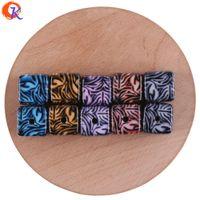 lucitwürfel großhandel-Großhandel 16mm 50 Stücke Schmuck Zubehör / Acryl Perle / Hand Made / Striped Cube Form / DIY Teile / Print Perle / Ohrring Erkenntnisse