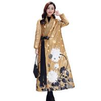 китайские пуховики оптовых-Китайский стиль зимняя куртка женщин X-Long пальто раздел Женская одежда парки мода печати вниз хлопок куртка высокое качество