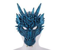 rosto de animal 3d venda por atacado-Máscara de Dragão 3D Carnaval Partido Animal Costume Dragon Cosplay Masquerade Máscara Facial PU Mardi Gras Máscara