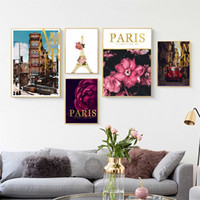 Wholesale landscape art posters for sale - Group buy Nordic Style Flower Peony landscape Iron Tower Decorative Painting Poster Wall Art Canvas Prints Wall Pictures For Living Room