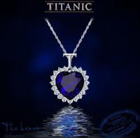 pingentes de cristal de safira azul venda por atacado-Titanic coração do oceano safira azul cz cristal colar de pingente de jóias