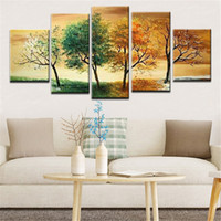 Wholesale set wall art panels online - NEW Hand painted Modern Landscape Abstract Art Oil Painting on White Canvas Wall For Home Decoration set
