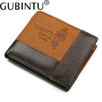 Wholesale gubintu wallets resale online - GUBINTU Leather Men s Wallet Short Wallet High Quality Dollar Personality Splice Splicing