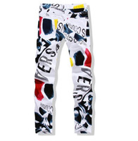 Wholesale free style paintings for sale - Group buy Mens Print Denim Pants New Famous Man Casual Pants Fashion D Painted Jeans White Skinny Cotton Trousers Biker Jeans Streetwear