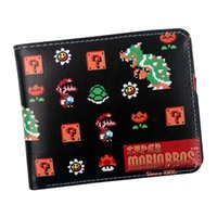 Wholesale super mario wallets for sale - Group buy game super mario brothers men wallets With ID window Zipper coin pocket Card Holder Faux leather Cartoon Purse