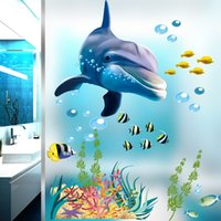 рыбные наклейки для детей ванная комната оптовых-Водонепроницаемый ванная комната кухня стикер стены океан подводный море домашний декор наклейки на окна дельфина рыба наклейка росписи детская комната
