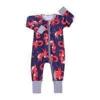 vêtements de bébé en bambou achat en gros de-Ins bébé garçon fille barboteuse vêtements belle feuilles de bambou imprimer coton combinaison pour enfants infantile One Piece vêtements nouveau-né pyjama Costume