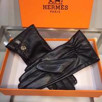 lederhandschuhe großhandel-H Art Lederhandschuhe Handschuhe der hochwertigen warmen Frauen Herbst-Winter-im Freiensport, der Entwerfer-Handschuhe fährt Freies Verschiffen
