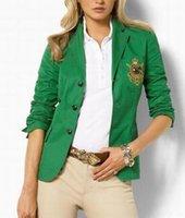 blazers de señora verde al por mayor-Promovido nuevas mujeres chaqueta de polo clásico de manga larga solo pecho damas abrigos casuales de negocios de la chaqueta verde azul marino S-XL