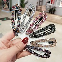 Wholesale Bling Full Rhinestone Crystal Hairpin Girl Handmade Beaded Side Pins Barrette Sparkle Ornament Hair Accessories Gift Styles X477FZ